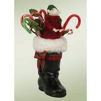 "8.5"" Decorative Mouse in a Black Santa Boot Table Top Christmas Figure"