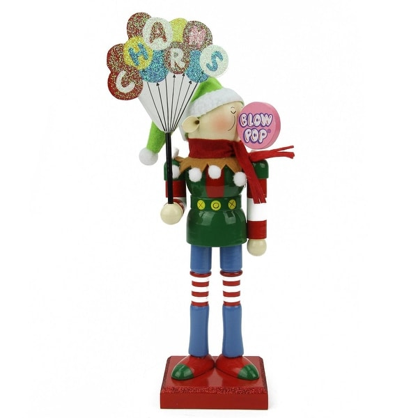 "11"" Decorative Prince Charms Blow Pop Wooden Elf Christmas Figure"