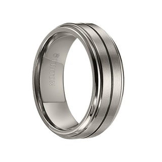VAUGHAN Satin Finished Raised Center Titanium Ring with Horizontal Center Groove and Polished Step Edges by Triton Rings - 8 mm
