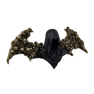 Death Angel Faceless Grim Reaper Wall Sculpture w/Human Skeleton Wings - Black