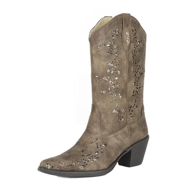 Roper Western Boots Womens Alisa Glitter B Brown