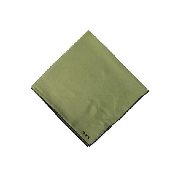 Tom Ford Men's Solid Olive Green Silk Pocket Square