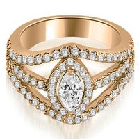 1.70 cttw. 14K Rose Gold Halo Marquise Cut Diamond Engagement Diamond Ring