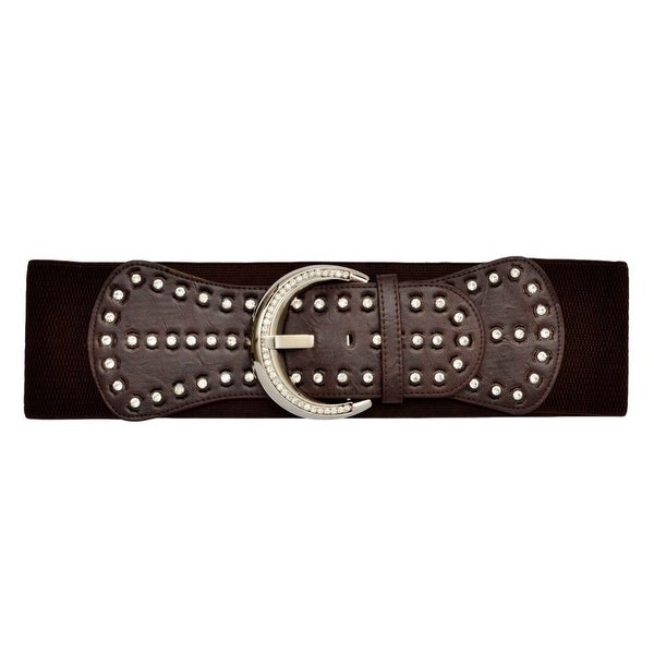 Angel Ranch Western Belt Womens Stretch Crystals One Size Brown - One size