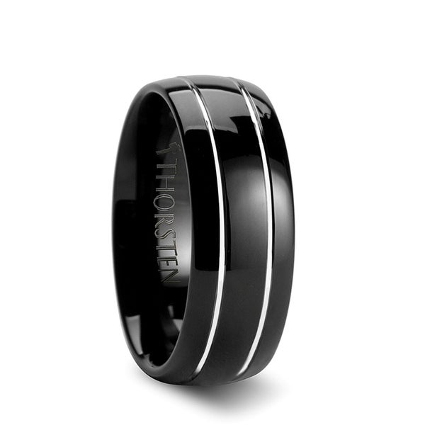 THORSTEN - ECLIPSE Domed Black Tungsten Ring with Polished Offset Grooves