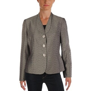 Le Suit Womens Petites Three-Button Blazer Textured Office - 10P