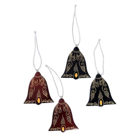 NOVICA Handmade Joyful Tolling Mahogany wood ornaments (set of 4) - 0.2