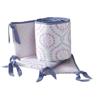 Lambs & Ivy Mackenzie 4-Piece Bumper - Pink, Purple, White, Modern, Floral, Girl - crib