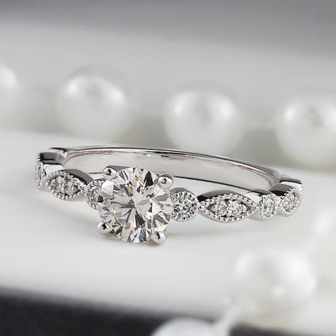 Auriya 14k Gold Vintage 1ct Round Moissanite Engagement Ring
