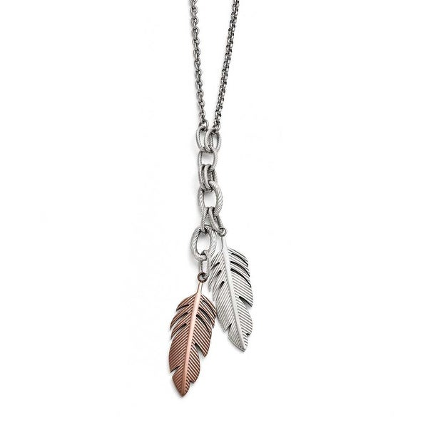 Chisel Stainless Steel Polished Brown IP-plated Feather Slip-on Necklace - 29 in