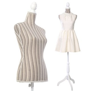 Costway Female Mannequin Torso Dress Form Display W/ White Tripod Stand New