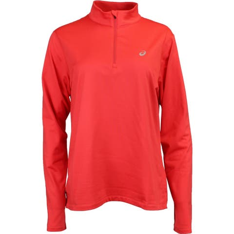 ASICS Silver 12 Zip Winter Womens Athletic Half Zip - Red