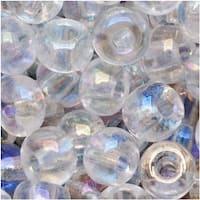 Czech Seed Beads Size 6/0 Crystal Clear AB (1 Ounce)