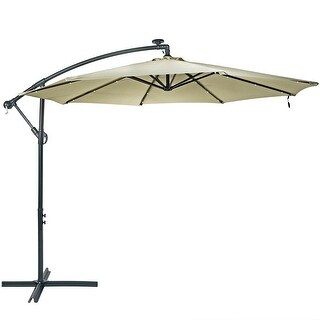 Sunnydaze Steel 10-Foot Offset Solar LED Patio Umbrella with Cantilever, Crank, and Cross Base, 8 Steel Ribs