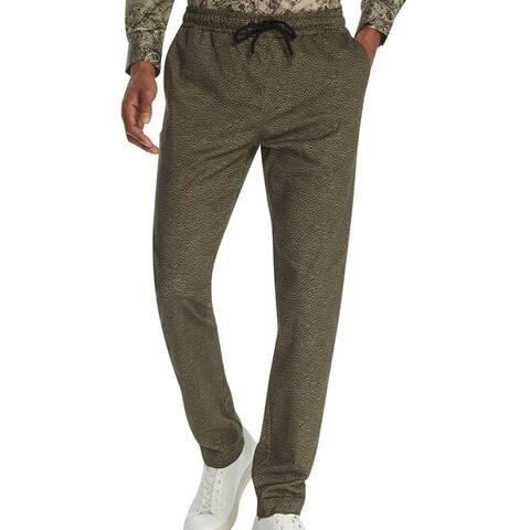 Tallia Mens Chino Pant Green Size 38x31 Slim Fit Reptile Skin Stretch