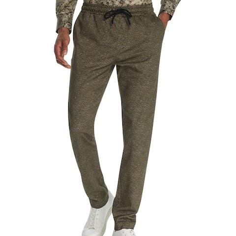Tallia Mens Pants Green Size 40 Drawstring Stretch Reptile Print Tapered