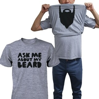 Ask Me About My Beard Shirt Funny Flip Up T-shirts Halloween Graphic Unisex Tee Funny Shirt