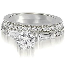 1.20 cttw. 14K White Gold Round And Baguette Cut Diamond Bridal Set