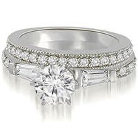 1.20 cttw. 14K White Gold Round And Baguette Cut Diamond Bridal Set