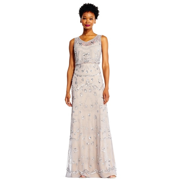 Shop Adrianna Papell Sleeveless Beaded Blouson Gown Illusion Details ...