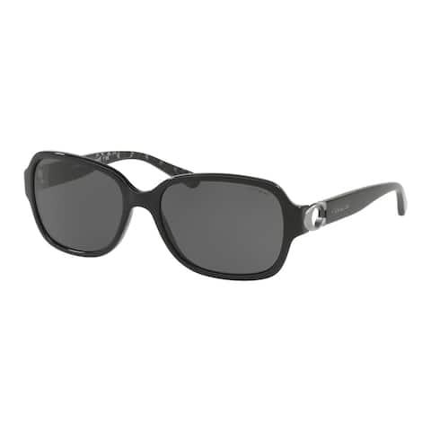 Coach Rectangle HC8241 Women BLACK Frame DARK GREY SOLID Lens Sunglasses