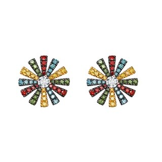 Prism Jewel 0.70Ct G-H/SI1 Multi Color Diamond with Natural Diamond Flower Earring - N/A/White G-H