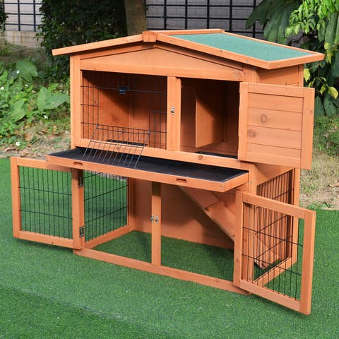 """PawHut 40"""" Multi-Level Wooden Playpen Outdoor Rabbit Small Animal Pet Cage with Enclosed Run, Great for Ferrets & Guinea Pigs"""