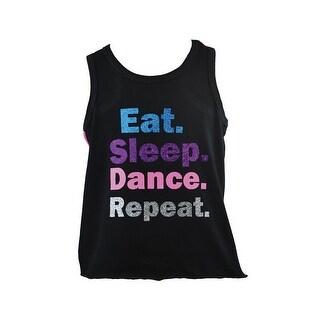 Reflectionz Girls Black Dance Inspired Print Cotton Tank Top