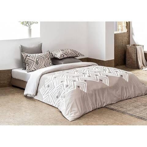 Delara GOTS Certified 100% Organic Cotton Aztec Reversible Print Duvet Cover and Sham Set of 2, Brown