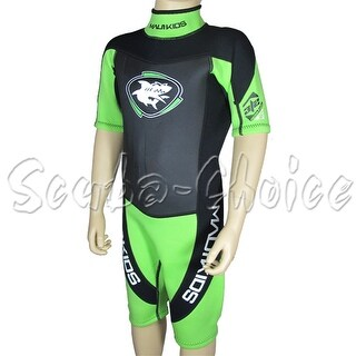 Maui & Sons 3/2 mm Boy's Neoprene Short Sleeve Surfing Suit Black/Lime