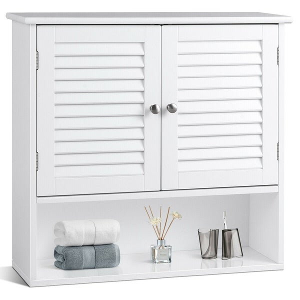 Gymax Bathroom Wall Storage Cabinet Double Doors Shelves Kitchen Medicine Organizer