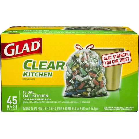 Glad 78543 Recycling Tall Kitchen Drawstring Clear Bags, 13 Gallon, 45 Count