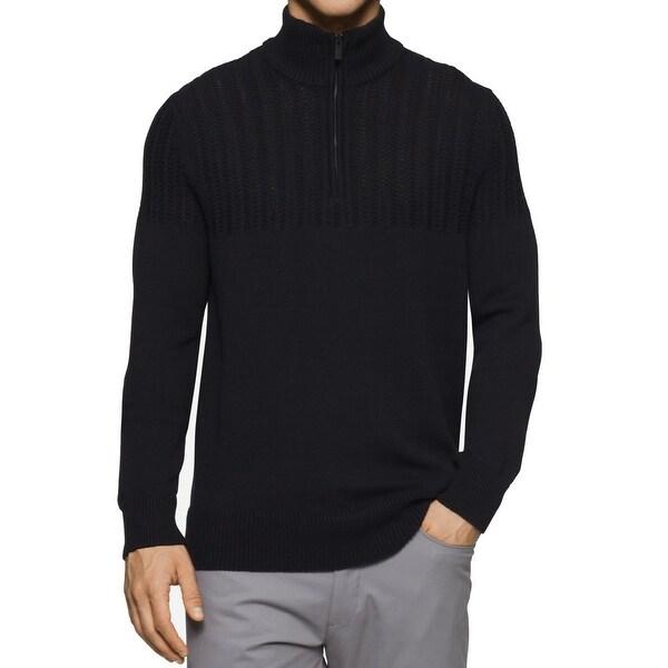 Calvin Klein New Mens Black Size Large L Cable Knit Quarter Zip