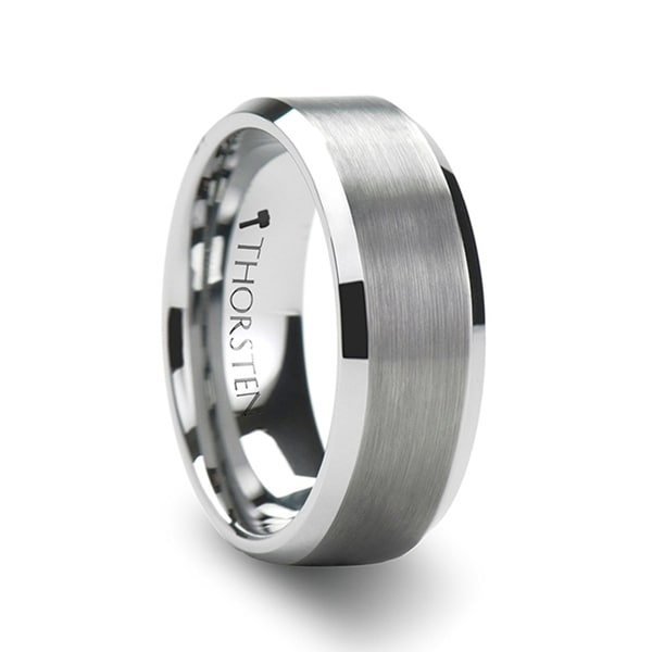 SHEFFIELD Flat Beveled Edges Tungsten Ring with Brushed Center
