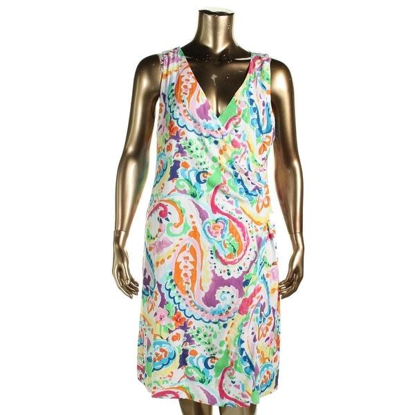 Lauren Ralph Lauren Womens Casual Dress Faux-Wrap Paisley Print