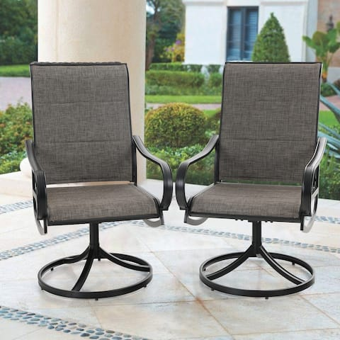 MFSTUDIO Patio Swivel Dining Chair Set of 2, Metal Chairs for Kitchen Garden, with Textilene Padded Sling Fabric