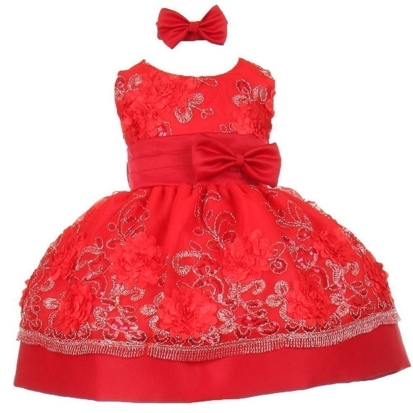 Baby Girls Red Sequin Floral Embroidery Flower Girl Christmas Dress 3-24M