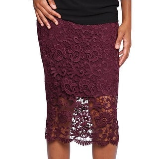 Bar III Crochet Lace Midi Skirt Women