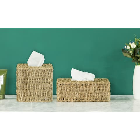 Natural Woven Seagrass Wicker Tissue Box Cover Holder