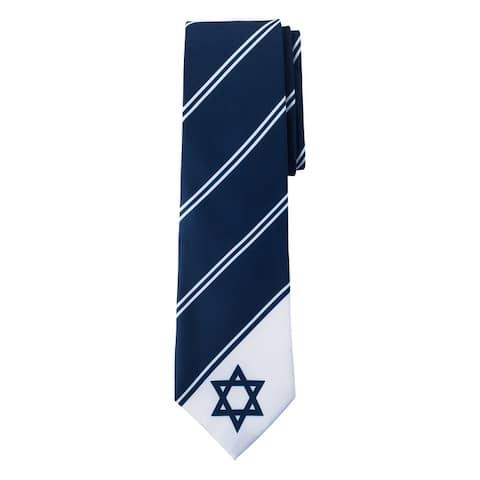 Jacob Alexander Israel Country Flag Colors Men's Necktie - Star of David Tie Design - Navy Blue