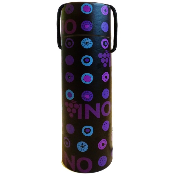 "12.5"" Black and Purple Printed Vino Paper Cylindrical Bottle Box with Handle - N/A"