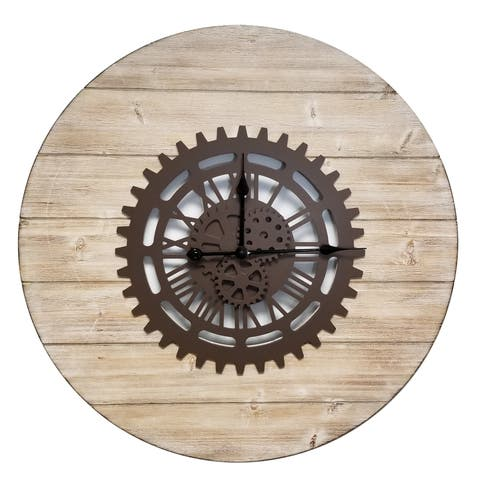 "Brewster X833333G Fetco 31-3/4"" x 31-5/8"" Gearz Wood Analog Wall Mounted Clock - Brown"