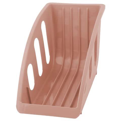 "Restaurant Kitchen Plastic Plate Bowl Drying Storage Holder Dish Rack - Pink - 8"" x 4"" x 5.5""(L*W*H)"