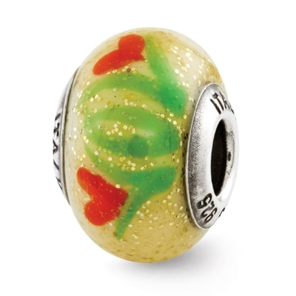 Italian Sterling Silver Reflections Yellow with Orange Flowers Bead (4mm Diameter Hole)