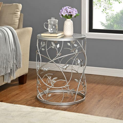 Large Bird and Branches Side Table, Iron, 16.5 x 16.5 x 22 in, American Designed - 16.5 x 16.5 x 22 in