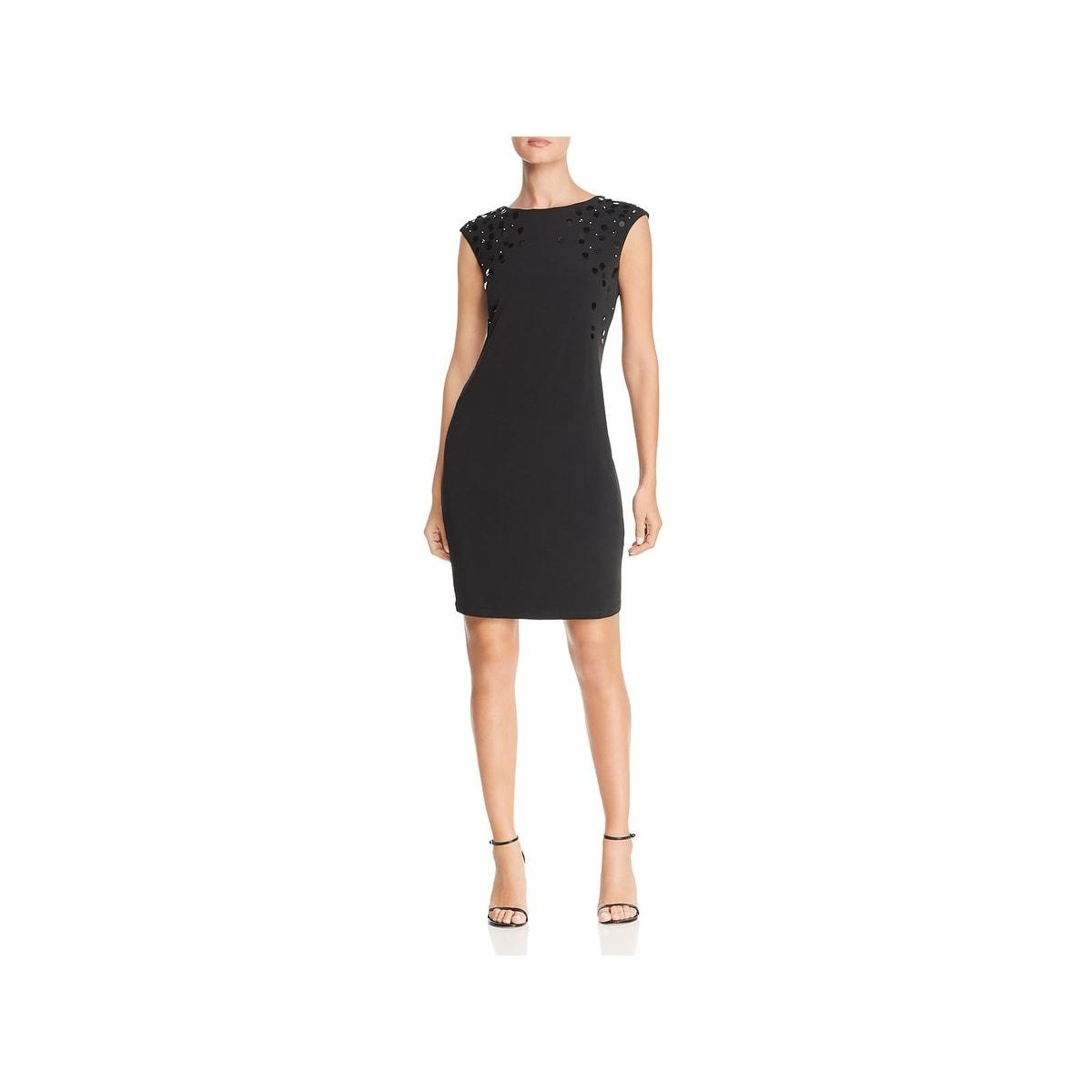 Sheath Dress Klein Cap Calvin Sleeves Womens Paillettes