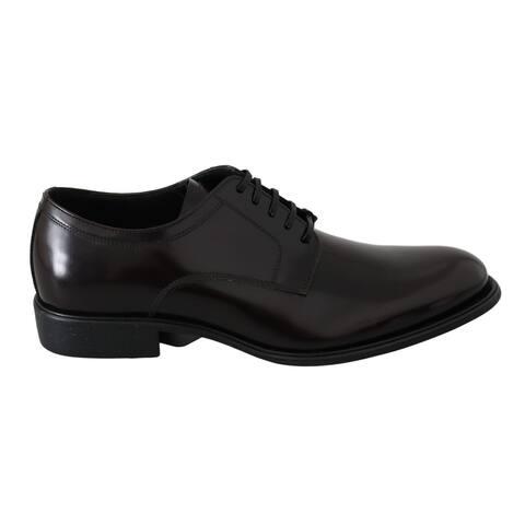 Dolce & Gabbana Bordeaux Polished Leather Sangria Men's Shoes