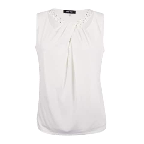 Nine West Women's Cutout Pleated Jersey Top (M, Lily) - Lily - M