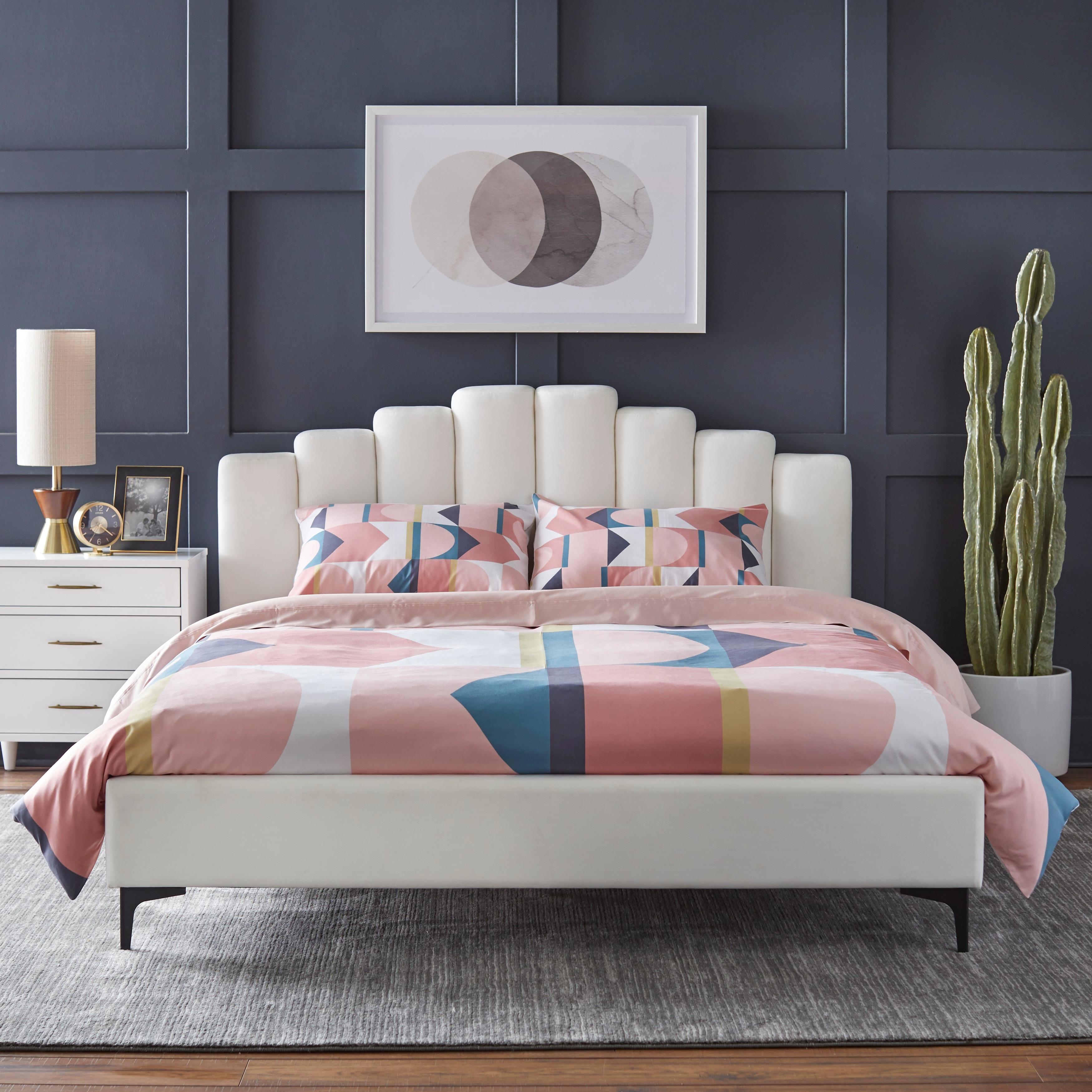 Lifestorey Stark Upholstered Queen Bed Overstock 31052033 Grey