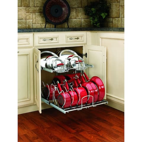 """Rev-A-Shelf 5CW2-2122 5CW2 Series 21"""" Wide Two Tier Pull Out Cookware Organizer for 24"""" Base Cabinet - Chrome"""